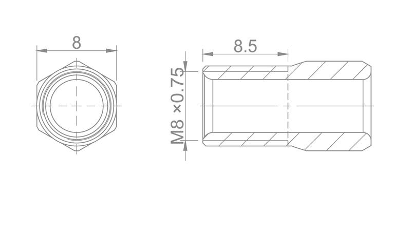 Kompresná skrutka M8 x 0,75  pre vonk.pr. 5mm SHIMANO
