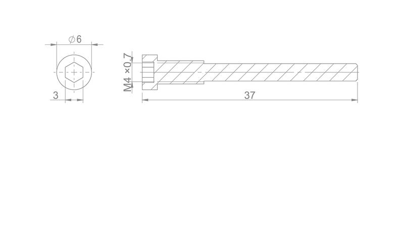 Zaisťovacia skrutka brzdových doštičiek M4 x 36 - HAYES RYDE/DYNO