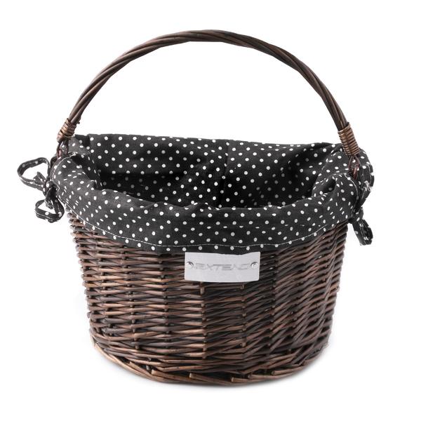 Košík na bicykel Extend CREDO, prútený, QR, dark brown, black-white