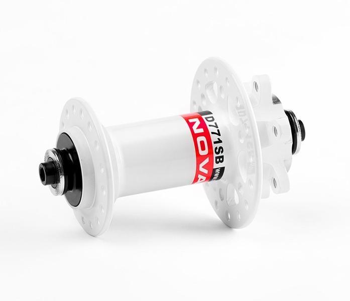 Náboj Novatec D771SB + redukcie 15mm, predný, 32-dierový, biely