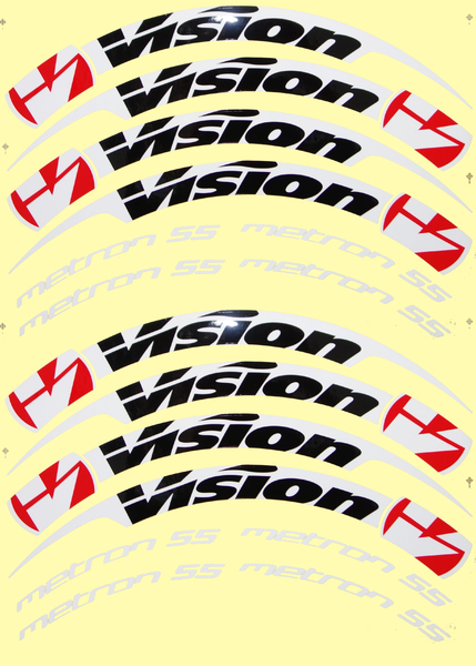 Nálepky na ráfky VISION Metron 55 Tubular